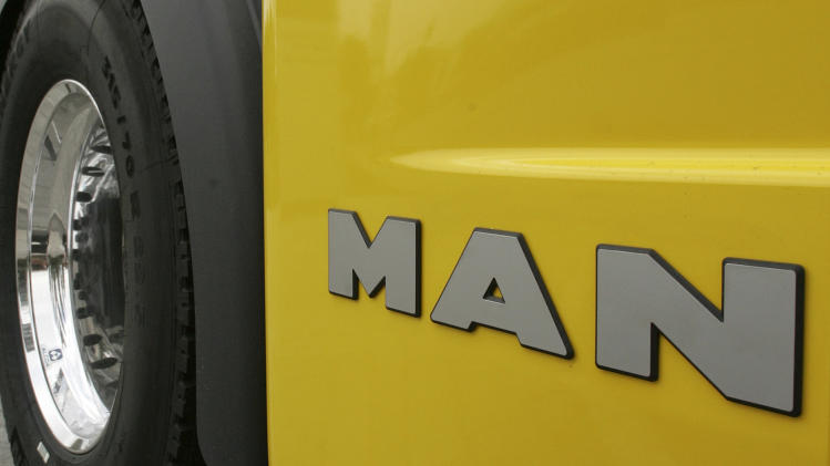 File photo of a truck at the headquarters of German industrial group MAN in Munich