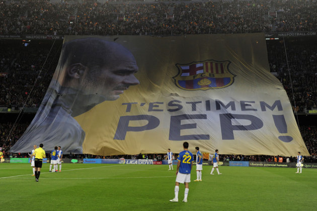  &quot;We Love You Pep!&quot; Is Diplayed In Tribute To Barcelona's Coach Josep Guardiola Guardiola For His Four Seasons As Coach AFP/Getty Images