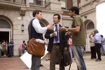 Mark Wahlberg , John Leguizamo and director M. Night Shyamalan on the set of 20th Century Fox's The Happening