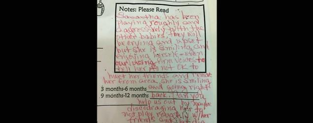 Daycare calls baby 'aggressive' in note