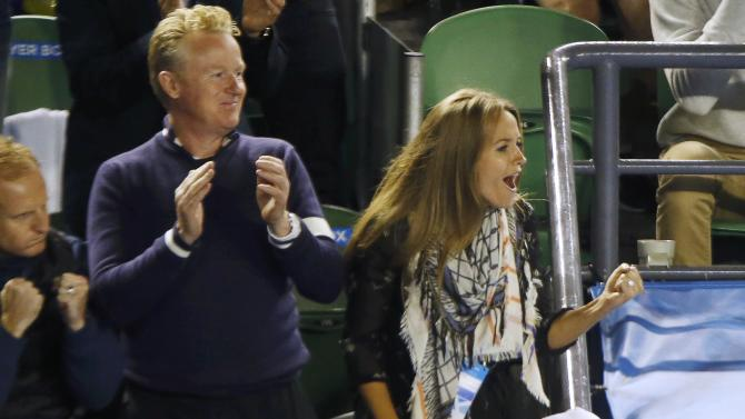 Sears, fiancee of Murray of Britain, celebrates after he defeated Berdych of Czech Republic in their men's singles semi-final match at the Australian Open 2015 tennis tournament in Melbourne