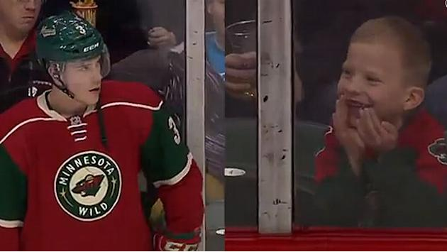 Charlie Coyle makes young fan's day