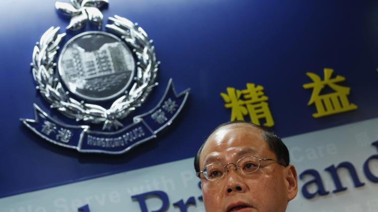 Hong Kong's Commissioner of Police Tsang speaks during a news conference in Hong Kong