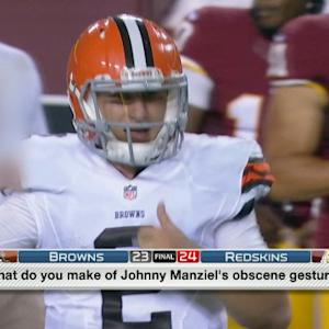 Cleveland Browns quarterback Johnny Manziel lets his frustration show