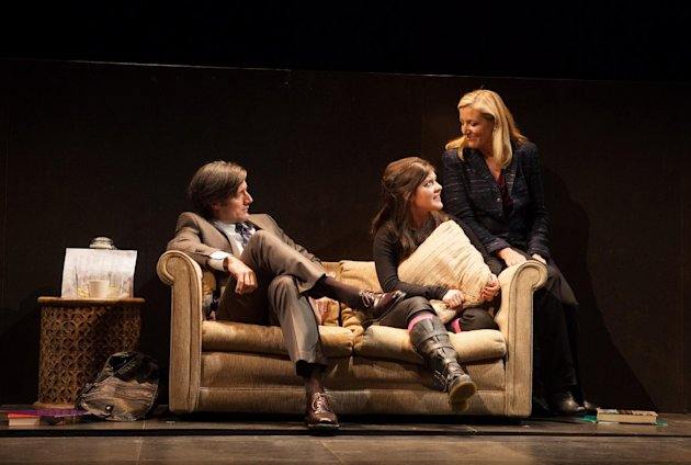 This theater image released by Boneau/Bryan-Brown shows, from left, Gareth Saxe, Madeleine Martin and Mary McCann, in a scene from Simon Stephens drama, &quot;Harper Regan,&quot; performing off-Broadway at the Atlantic Theater Company in New York. (AP Photo/Boneau/Bryan-Brown, Kevin Thomas Garcia)