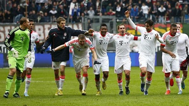 Bayern Munich players celebrate their 22nd Bundesliga title (Reuters)