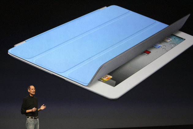 The new Smart Cover, that wakes the iPad when it is opened, is displayed as  Steve Jobs, Apple's chief executive, introduces the cover and the iPad 2 in San Francisco.