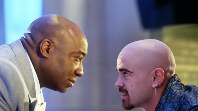 """In this undated movie still provided by Twentieth Century Fox, the crime lord Kingpin, played by Michael Clarke Duncan, left, hires Bullseye, played by Colin Farrell, in a scene from the movie """"Daredevil"""", based on a popular comic book published by Marvel. In Google's 12th annual roundup of global trending searches, """"Amanda Todd"""" was ranked ninth. (AP Photo/20th Century Fox, Zade Rosenthal)"""