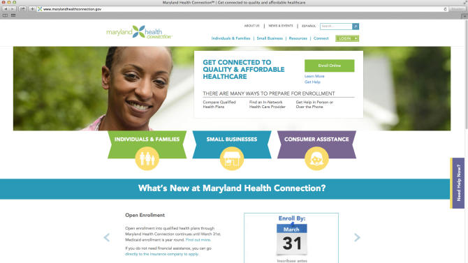 This screen image shows the website for Maryland's online health care exchange. House Republicans intent on highlighting the woes of President Barack Obama's health care law need to look no further than their own back yards, some of which are traditionally liberal strongholds. Maryland's online health care exchange has been plagued by computer glitches since its rollout last year, reflected in abysmal enrollment numbers well below projections through January. The state's lone Republican in Congress, Rep. Andy Harris, has asked the inspector general of the U.S. Health and Human Services Department to investigate. (AP Photo/State of Maryland)