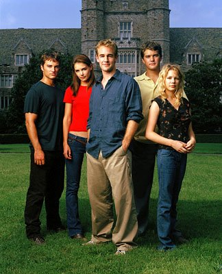 Kerr Smith, Katie Holmes, James Van Der Beek, Joshua Jackson and Michelle Williams in WB's Dawson's Creek