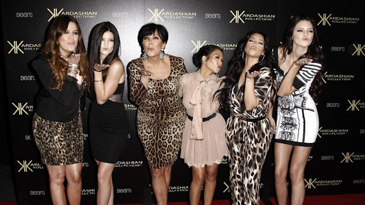 "FILE - In this Aug. 17, 2011 file photo, from left, Khloe Kardashian, Kylie Jenner, Kris Jenner, Kourtney Kardashian, Kim Kardashian, and Kendall Jenner arrive at the Kardashian Kollection launch party in Los Angeles. The Kardashians will visit Oprah Winfrey when ""Oprah's Next Chapter"" airs this Sunday, June 17 at 8p.m. EST on OWN.  (AP Photo/Matt Sayles, file)"