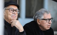 "Italian directors Vittorio (left) and Paolo Taviani pose during a photocall for their film ""Caesar Must Die"" in Rome, February 2012. Italy nominated as its submission for Oscar for best foreign movie the Taviani brothers' docu-drama ""Caesar Must Die"" -- an adaptation of Shakespeare's ""Julius Caesar"" staged in a prison"