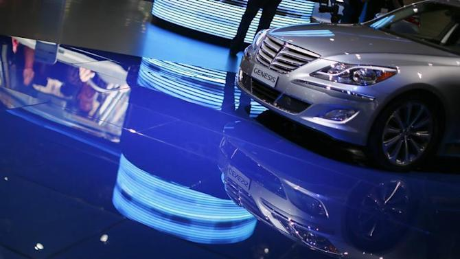 A Hyundai Genesis is seen at the Los Angeles Auto Show