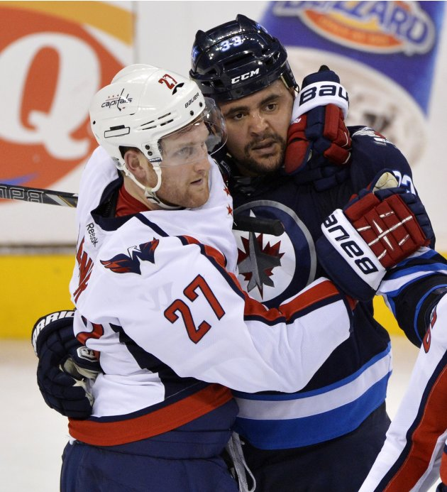 Capitals' Alzner holds Jets' Byfuglien back as other players tangle during their NHL hockey game in Winnipeg