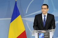 The Prime Minister of Romania Victor Ponta talks during a press conference in May 2012. A group of famous Romanian artists accused the new centre-left government of trying to destroy the Romanian Cultural Institute, the main promoter of the country's culture abroad