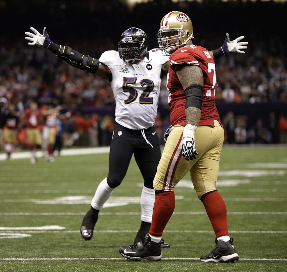 Baltimore Ravens linebacker Ray Lewis (52) reacts after the defense stopped the San Francisco 49ers on fourth-and-goal during the second half of the NFL Super Bowl XLVII football game, Sunday, Feb. 3, 2013, in New Orleans. The Ravens won 34-31. (AP Photo/Mark Humphrey)