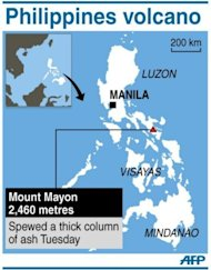 Graphic showing the Philippines' Mount Mayon, which spewed a giant ash cloud on Tuesday