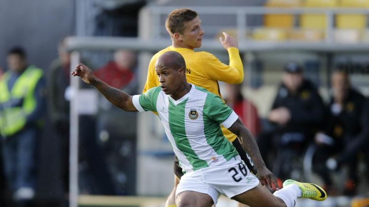 Elfsborg's Svensson and Rio Ave's Del Valle fight for the ball during their Europa League playoff soccer match in Boras