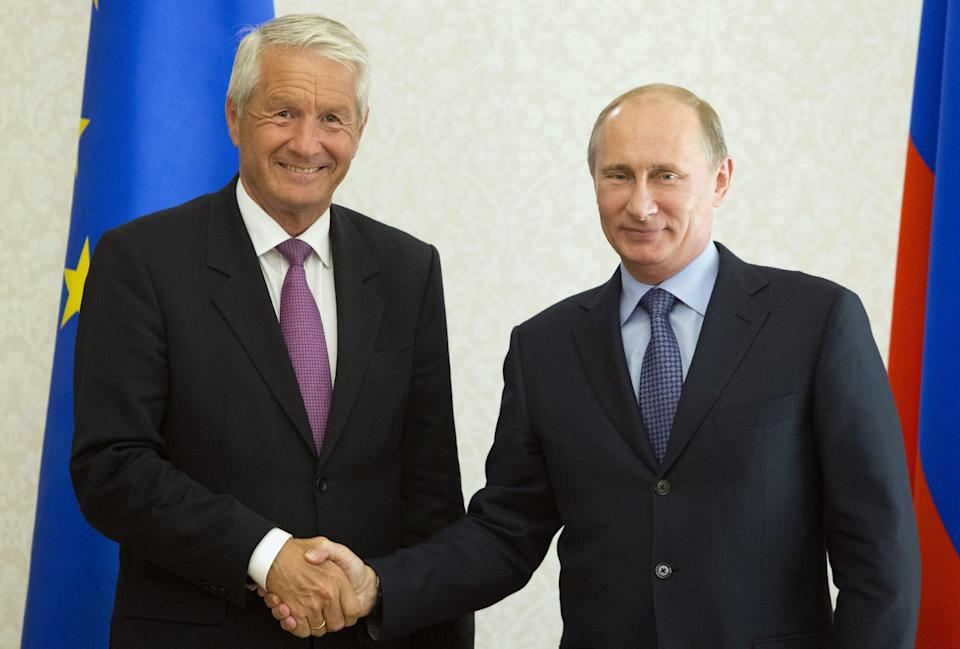 President Vladimir Putin, right, shake hands with Thorbjoern Jagland, secretary general of the Council of Europe, at the Bocharov Ruchei residence in the Black Sea resort of Sochi, Russia, Monday, May 20, 2013. (AP Photo/Misha Japaridze, Pool)
