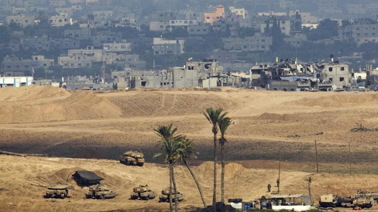Israeli tanks are seen in the northern Gaza Strip