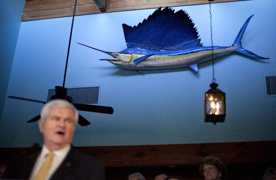 A sailfish hangs on the wall as Republican presidential candidate former House Speaker Newt Gingrich speaks during a campaign stop at the Land's End restaurant Sunday, Jan. 15, 2012, in Georgetown, S.C. (AP Photo/David Goldman)