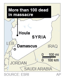 Map locates village of Houla, Syria site of massacre