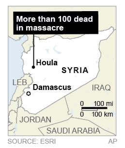 Map locates village of Houla, Syria site of massacre