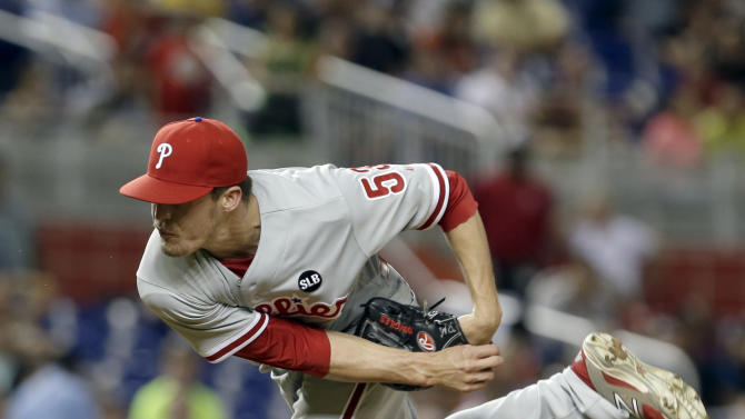 Philadelphia Phillies relief pitcher Ken Giles (53) pitches during a baseball game against the Miami Marlins, Friday, May 1, 2015, in Miami. (AP Photo/Alan Diaz)