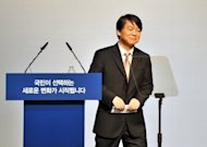 Political novice Ahn Cheol-Soo (pictured on September 19) has surged up the poll ratings since entering South Korea's presidential race, boosting the chances of taking his candidacy all the way to the ballot box in December