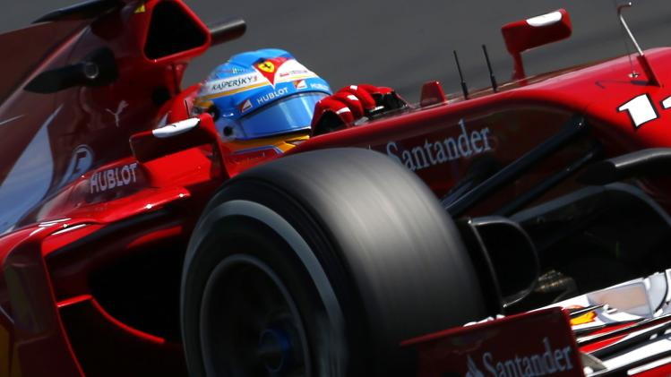 Ferrari Formula One driver Fernando Alonso of Spain pilots his car during the second free practice session of the Hungarian Grand Prix at the Hungaroring circuit, near Budapest