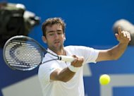 Croatia's Marin Cilic hits a return against American Sam Querrey during their semi-final at the Aegon Championships at the Queen's Club in west London on June 16. Cilic booked his first appearance in the final at Queen's after defeating former champion Querrey 6-3, 3-6, 6-3on Saturday