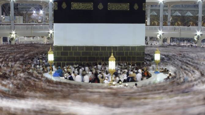 Muslim pilgrims pray around the holy Kaaba at the Grand Mosque, during the annual haj pilgrimage in Mecca