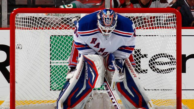 Henrik Lundqvist #30 Of The New York Rangers Looks On From Goal Against The New Jersey Devils In Game Six Of The Getty Images