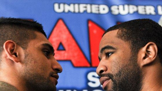 British Boxer Amir Khan(L) And Lamont Peterson Of The US Facing Each Other AFP/Getty Images