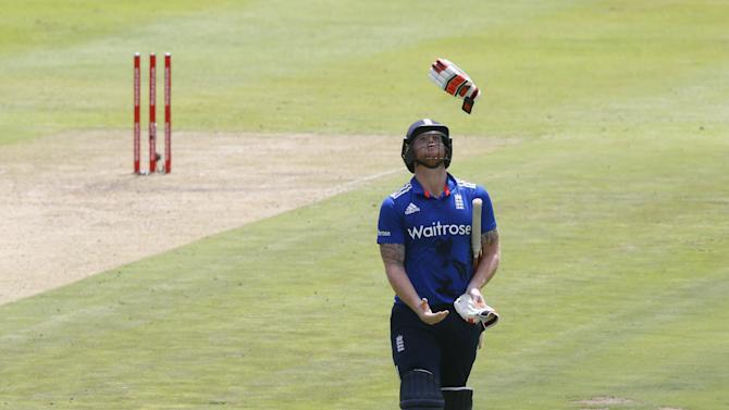 England's Stokes reacts after getting out during the One Day International Cricket match against South Africa in Cape Town