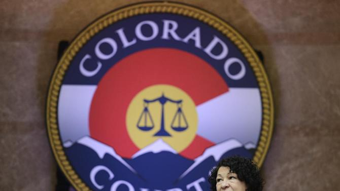 Supreme Court Justice Sonia Sotomayor attends the dedication of the new Ralph Carr Colorado Judicial Center, the home of the state Supreme Court and Court of Appeals in Denver,  Thursday, May 2, 2013. (AP Photo/The Denver Post,  RJ Sangosti, Pool)