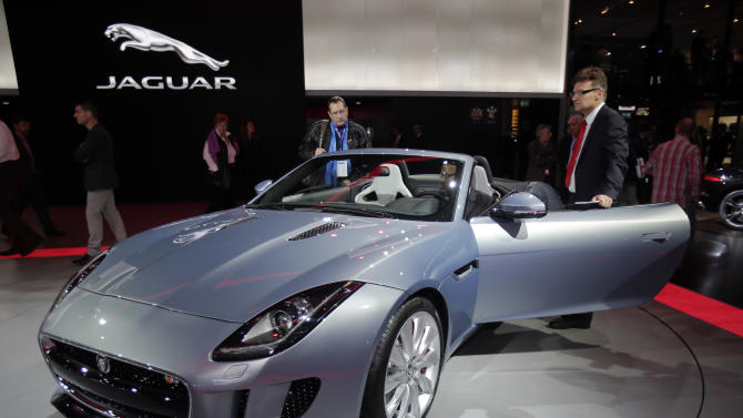 The new Jaguar F-Type is on display during the press day at the Paris Auto Show, France, Thursday, Sept. 27, 2012. The Paris Auto Show will open its gates to the public from Sept. 29 to Oct. 14. (AP Photo/Michel Euler)