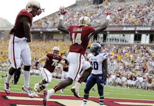 Rettig leads Boston College over Maine 34-3