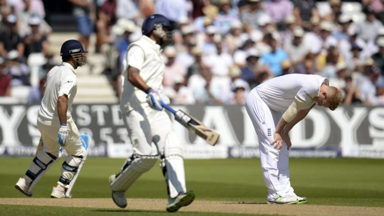 England's Stokes reacts during the first cricket test match against India at Trent Bridge cricket ground in Nottingham, England