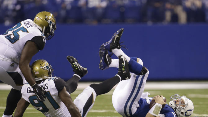 Indianapolis Colts quarterback Andrew Luck (12) hits the field after being sacked by Jacksonville Jaguars defensive end Chris Clemons (91) during the first half of an NFL football game Sunday, Nov. 23, 2014 in Indianapolis. (AP Photo/AJ Mast)