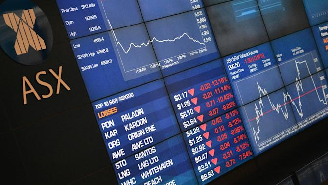 Sydney stocks slipped despite a slight pick-up in the Australian economy in the July-September quarter