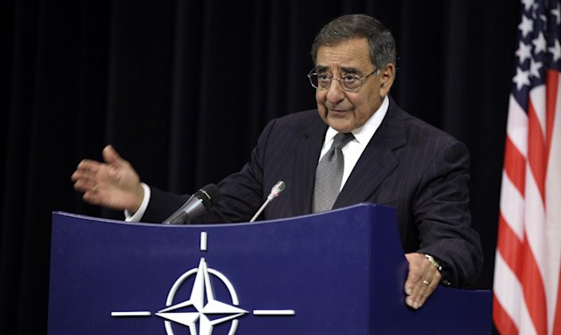 In this photo taken Oct. 10, 2012, Defense Secretary Leon Panetta speaks at NATO headquarters in Brussels. The US has sent troops to Jordan to bolster its military capabilities in the event Syria&#39;s civil war escalates, Panetta said Wednesday, reflecting U.S. concerns about the conflict spilling over allies&#39; borders and about the security of Syria&#39;s chemical weapons arsenal. Speaking at a NATO conference of defense ministers, Panetta said the U.S. has been working with Jordan to monitor chemical and biological weapons sites in Syria and also to help Jordan deal with refugees pouring over the border from Syria. (AP Photo/Virginia Mayo)