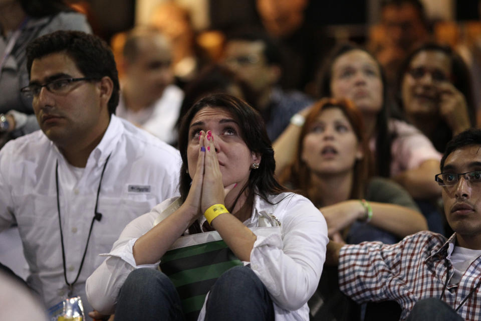 Supporters of opposition presidential candidate Henrique Capriles react while hearing official results in Caracas, Venezuela, Sunday, Oct. 7, 2012.  Venezuela's electoral council said late Sunday President Hugo Chavez has won re-election, defeating challenger Henrique Capriles. (AP Photo/Ariana Cubillos)