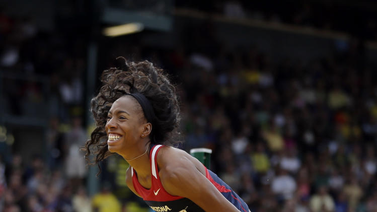 Brigetta Barrett reacts during the women's high jump at the U.S. Olympic Track and Field Trials Saturday, June 30, 2012, in Eugene, Ore. (AP Photo/Matt Slocum)
