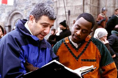 Director Gil Junger and Martin Lawrence (who plays Jamal, a fast-talking con-man who finds himself in 14th century England) on the set of 20th Century Fox's Black Knight