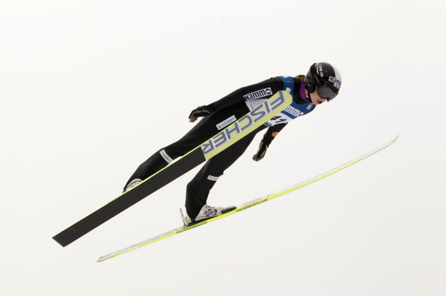 Anette Sagen of Norway competes to take the third place during the Nordic Combined Ski Jumping event in Oslo in the Holmenkollen Arena on March 9, 2012. AFP PHOTO / SCANPIX/ TERJE BENDIKSBY      ***NO
