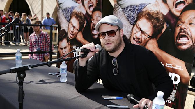 Director/Writer/Producer Seth Rogen at Columbia Pictures 'This is the End' UCSB demanded screening at UCSB on Tuesday, April, 23rd, 2013 in Santa Barbara, Calif. (Photo by Eric Charbonneau/Invision for Columbia Pictures/AP Images)