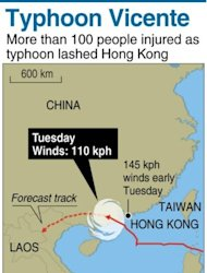 Graphic tracking the path of Typhoon Vicente. More than 100 people were injured as typhoon lashed Hong Kong with winds in excess of 140 kilometres an hour, officials said Tuesday