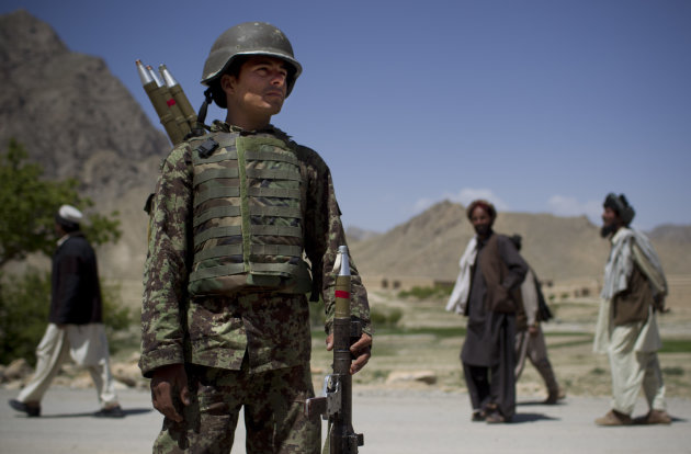 An Afghan National Army soldier carries his rockets while on patrol in Logar province, east Afghanistan, Thursday, May 17, 2012. NATO sits down May 20, 2012 in Chicago to prepare for the eventual withdrawal of international forces and the hand over of Afghanistan&#39;s security to the Afghan National Army. (AP Photo/Anja Niedringhaus)