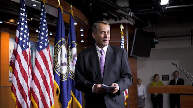 Speaker of the House John Boehner, R-Ohio, smiles as he leaves a news conference as Congress prepares to shut down until after the elections in November, on Capitol Hill in Washington, Friday, Sept. 21, 2012. (AP Photo/J. Scott Applewhite)